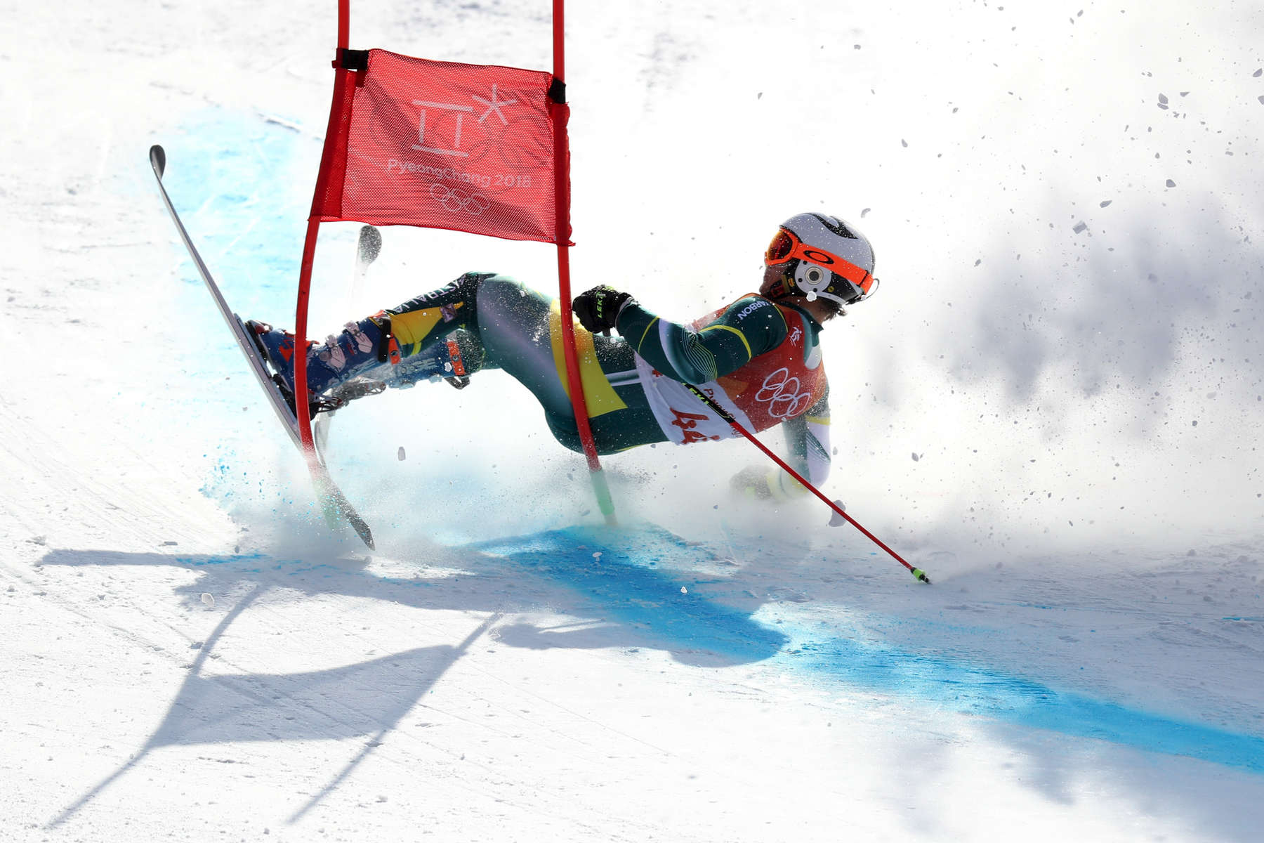 Harry Laidlaw of Australia crashes during the Alpine Skiing Men's Giant Slalom on day nine of the PyeongChang 2018 Winter Olympic Games at Yongpyong Alpine Centre on February 18, 2018 in Pyeongchang-gun, South Korea.