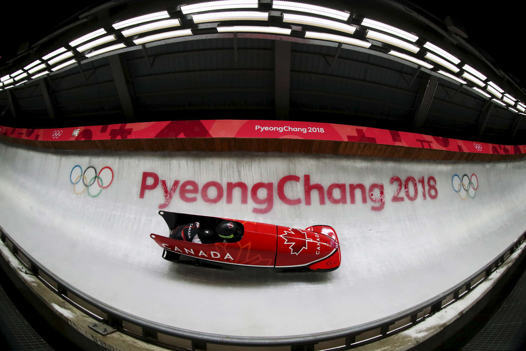 Kaillie Humphries and Phylicia George of Canada slide during the Women's Bobsleigh heats at the Olympic Sliding Centre on day eleven of the PyeongChang 2018 Winter Olympic Games at the Olympic Sliding Centre on February 20, 2018 in Pyeongchang-gun, South Korea.