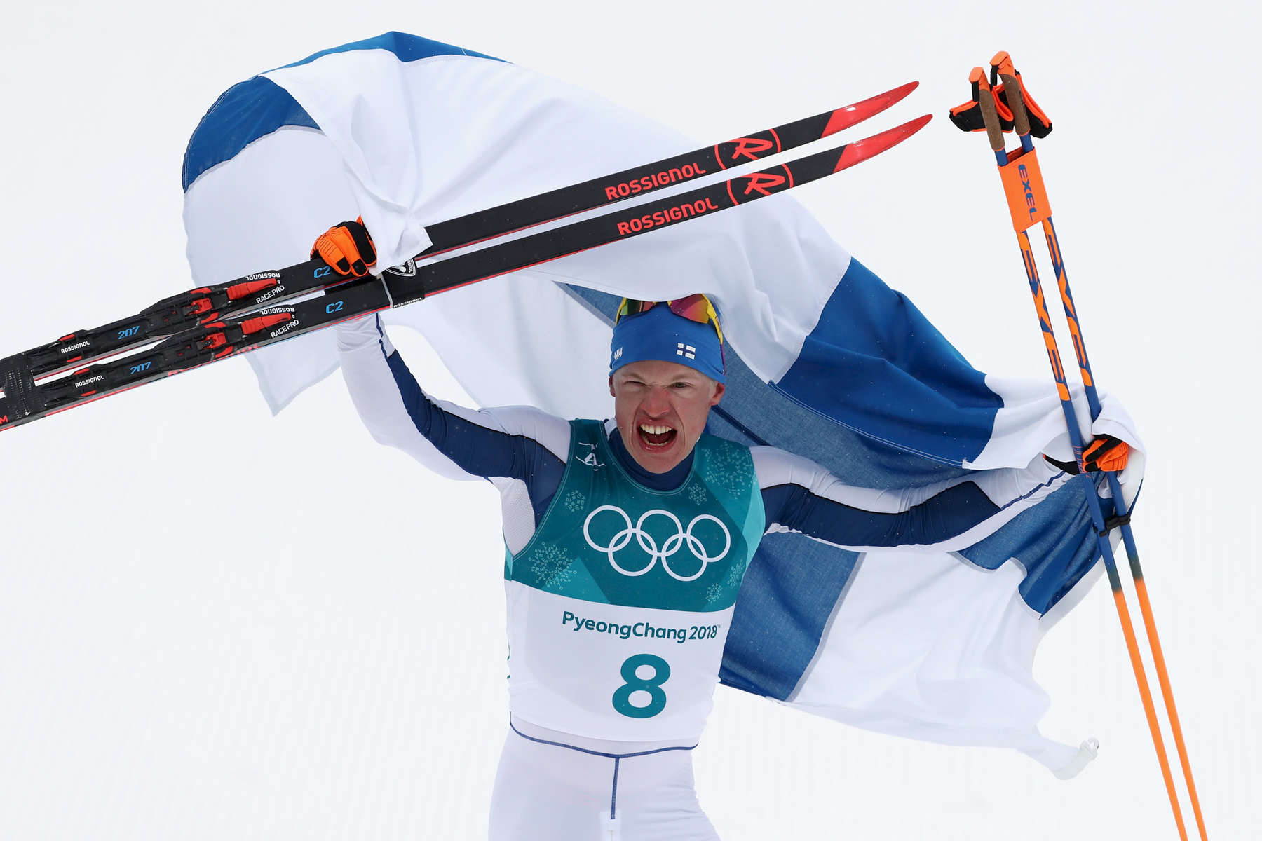 Iivo Niskanen of Finland celebrates winning the gold medal during the Men's 50km Mass Start Classic on day 15 of the PyeongChang 2018 Winter Olympic Games at Alpensia Cross-Country Centre on February 24, 2018 in Pyeongchang-gun, South Korea.