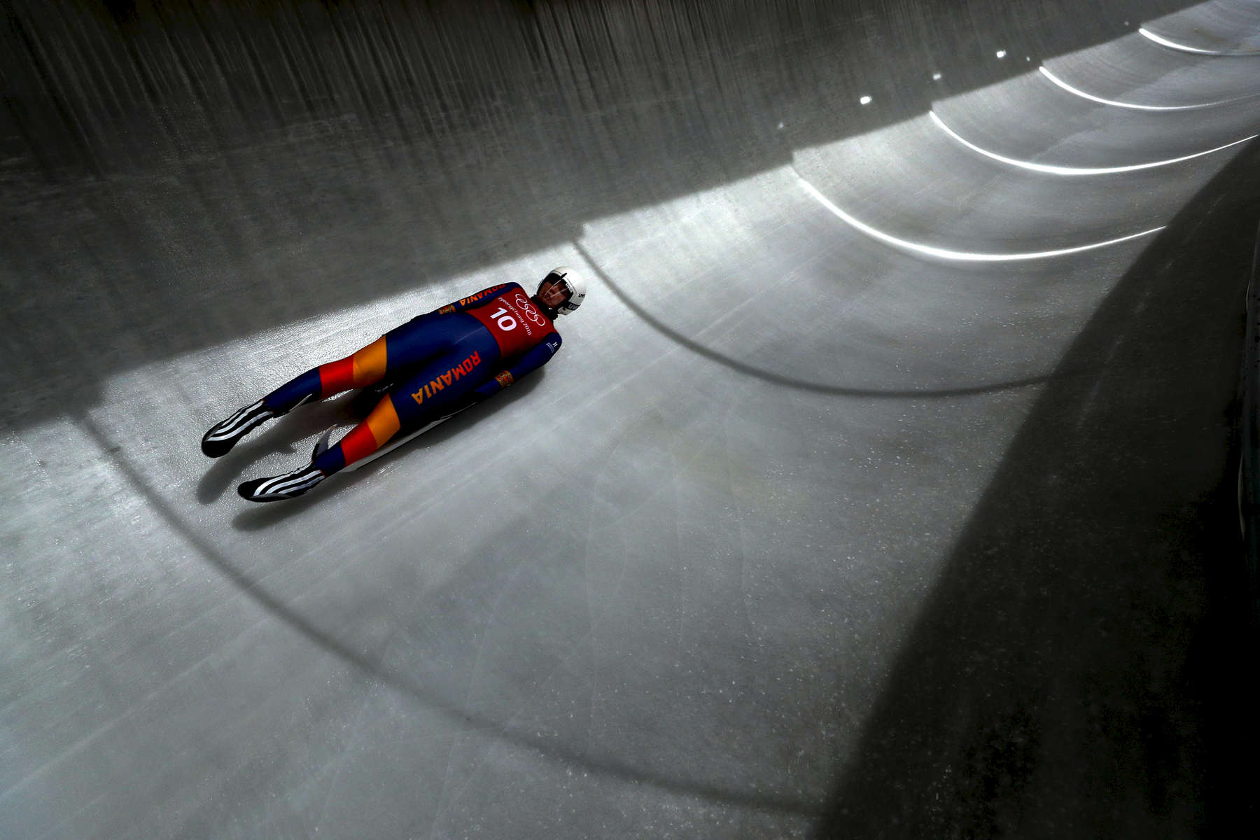 Luger Raluca Stramaturaru trains ahead of the PyeongChang 2018 Winter Olympic Games at the Olympic Sliding Centre  on February 6, 2018 in Pyeongchang-gun, South Korea.