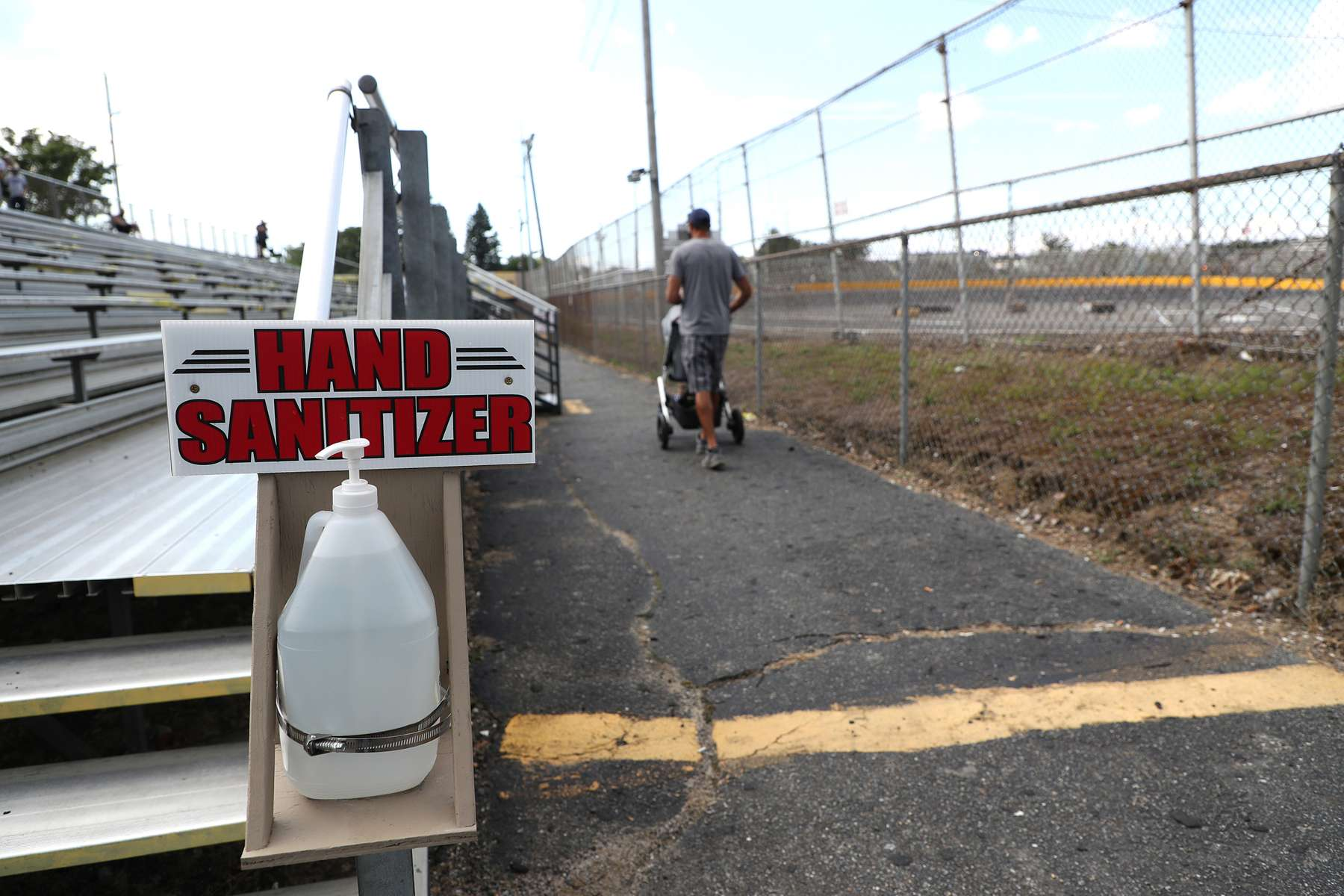 A jug of Hand sanitizer is present in the stands prior to racing during NASCAR Advance Auto Series Opening Night  at Riverhead Raceway on August 01, 2020 in Riverhead, New York.  The race track had been closed due to the coronavirus COVID-19 pandemic.  More than 4,585,258 people in the United States alone have been infected with the coronavirus and at least 154,000 have died.