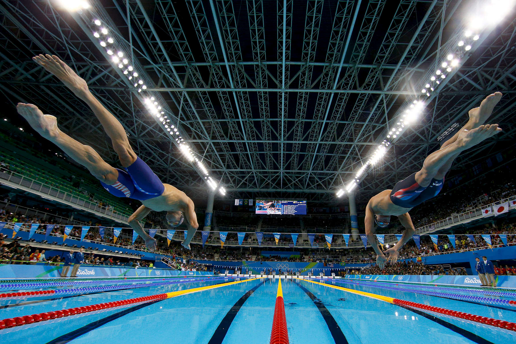 L-R) Michael Phelps and Ryan Lochte of the United States compete in the second Semifinal of the Men's 200m Individual Medley on Day 5 of the Rio 2016 Olympic Games at the Olympic Aquatics Stadium on August 10, 2016 in Rio de Janeiro, Brazil.