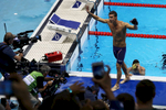 Michael Phelps of the United States celebrates winning gold in the Men's 200m Individual Medley Final on Day 6 of the Rio 2016 Olympic Games at the Olympic Aquatics Stadium on August 11, 2016 in Rio de Janeiro, Brazil.