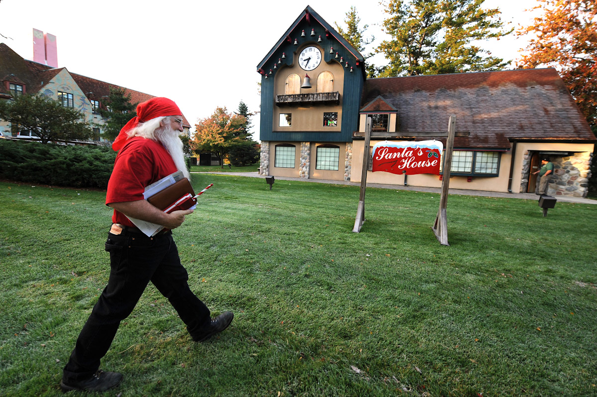 Santa Claus student Jerry Julian of Colorado walks to the Santa School house during the Charles W. Howard Santa Claus School workshop on October 17, 2008 in Midland, Michigan.