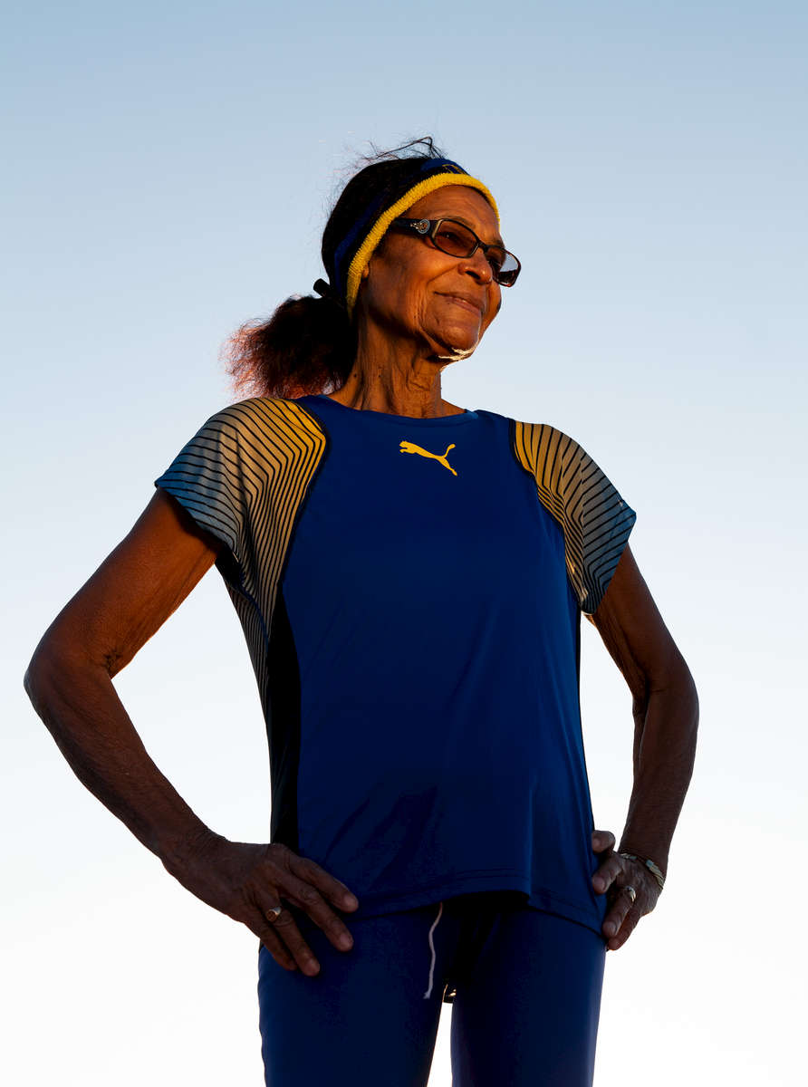 Senior track and field athlete Kathy Harper Hall aged eighty two poses for a portrait during the Huntsman World Senior Games on October 14, 2019 in St. George, Utah.