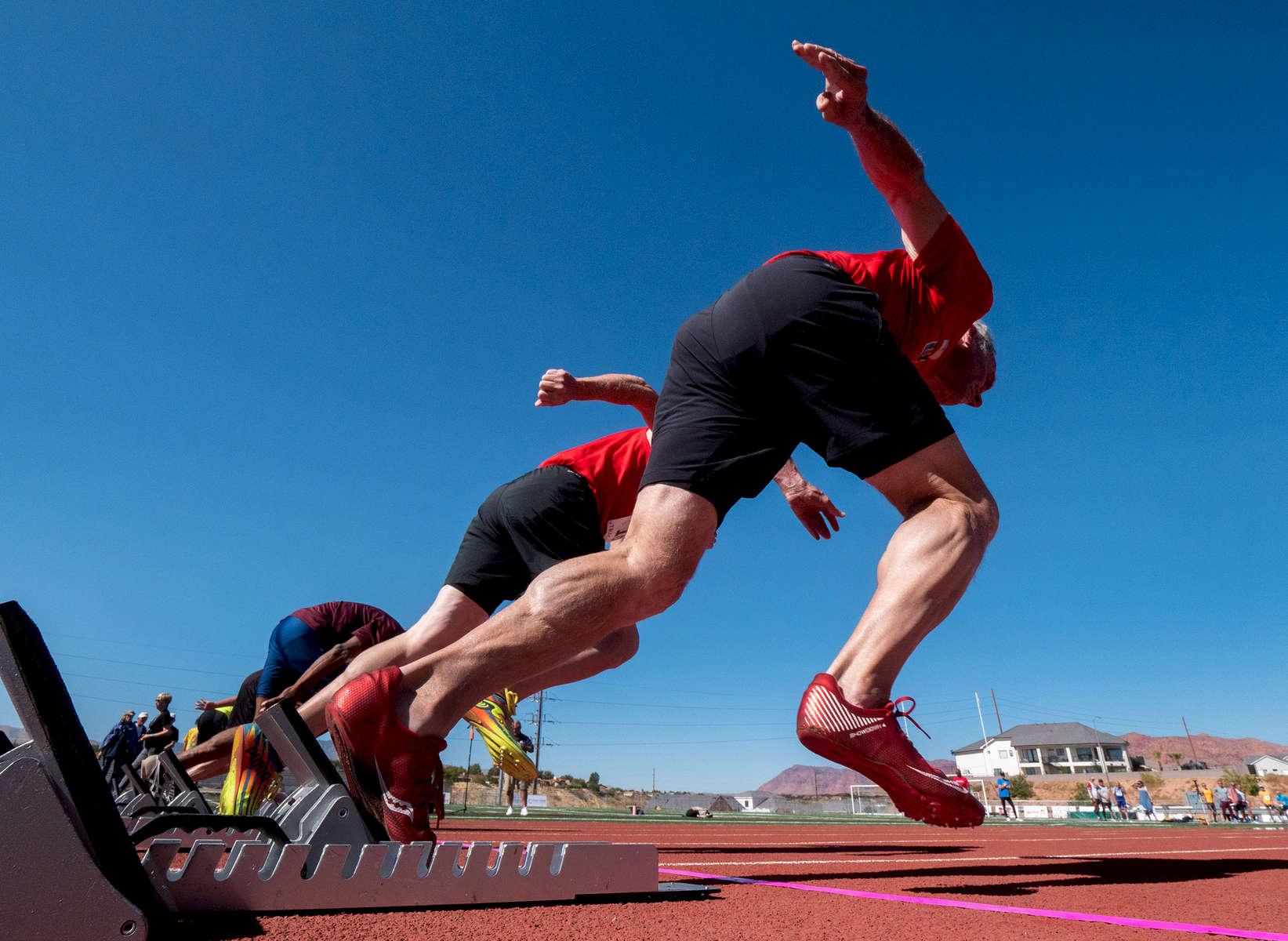 Senior athletes start the 50m dash during the Huntsman World Senior Games on October 15, 2019 in St. George, Utah.