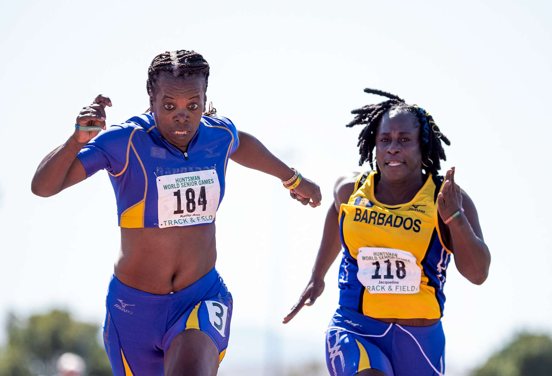 Senior athletes Kathy Anne Marshall (L) aged fifty two and Jacqueline Brathwaite aged fifty compete in the 50m dash during the Huntsman World Senior Games on October 15, 2019 in St. George, Utah.