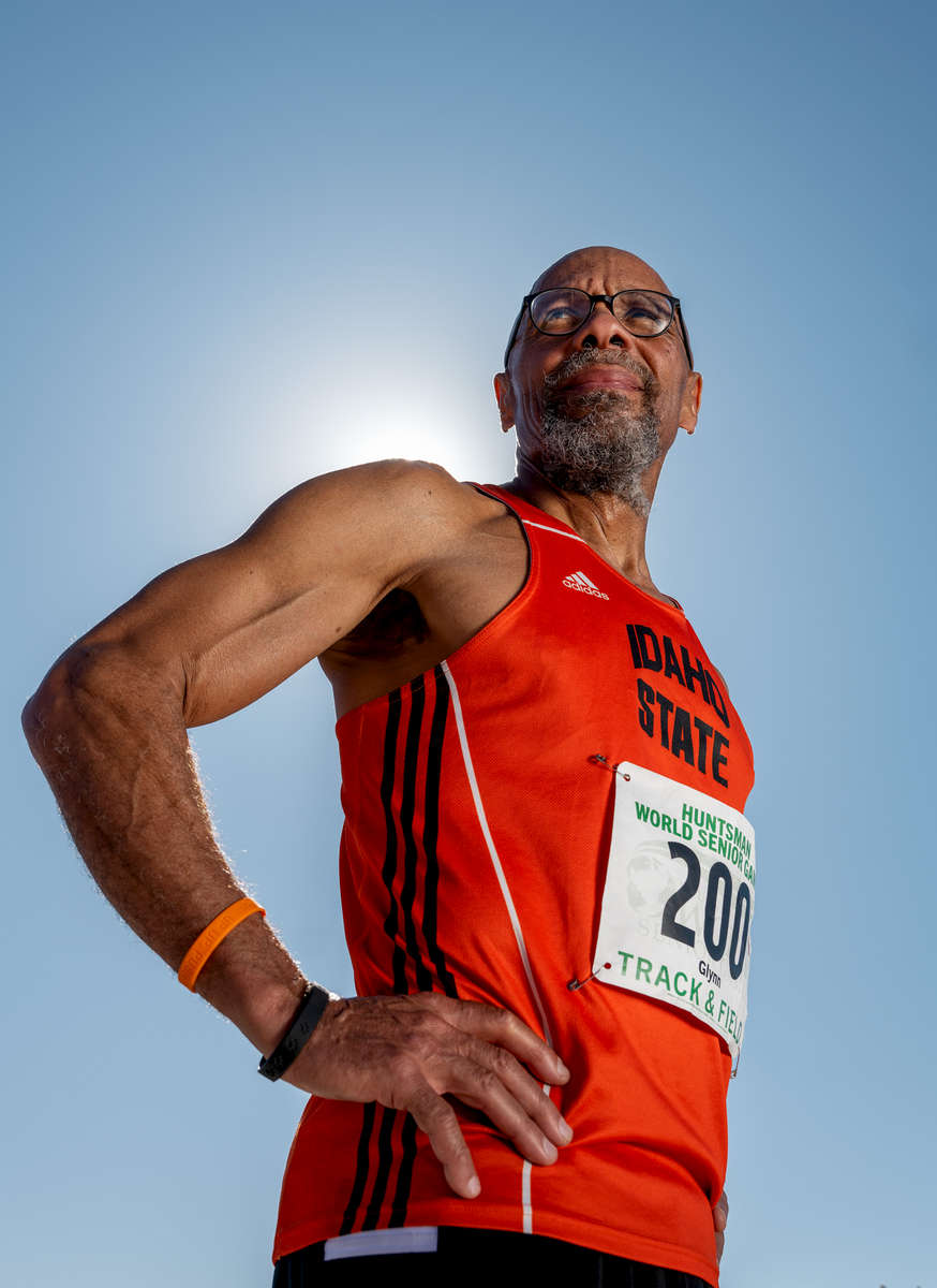 Senior Track and Field athlete Glynn Osborn aged sixty nine poses for a portrait during the Huntsman World Senior Games on October 15, 2019 in St. George, Utah.