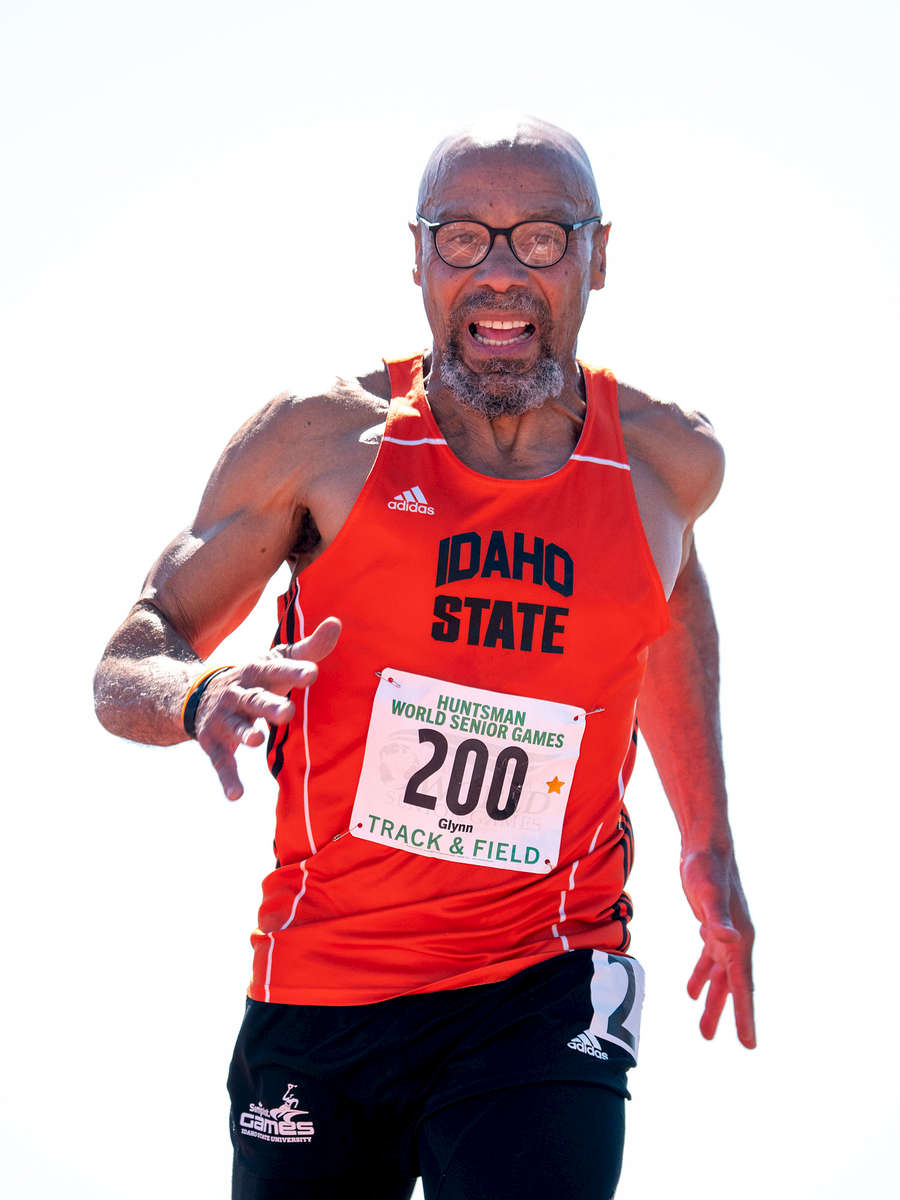 Senior Track and Field athlete Glynn Osborn aged sixty nine competes in the 50m dash during the Huntsman World Senior Games on October 15, 2019 in St. George, Utah.