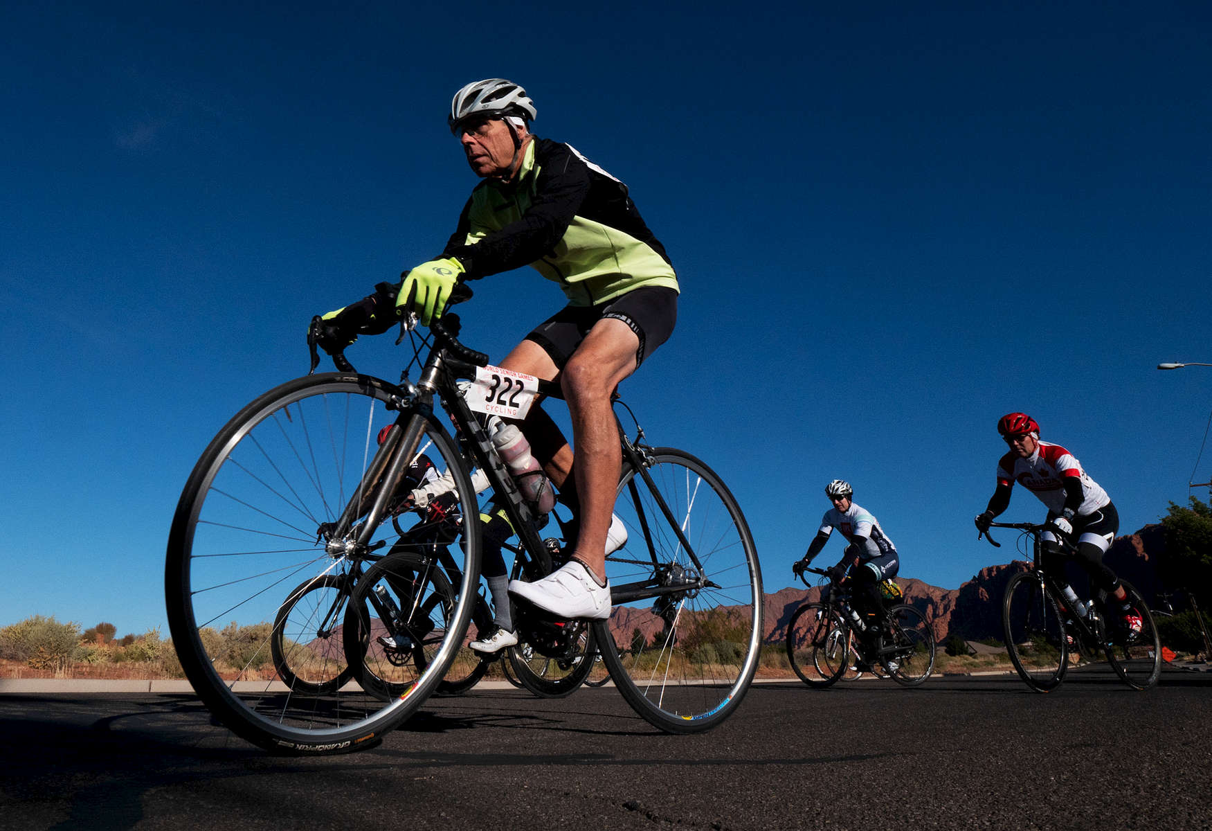 Senior athlete Gary Prahl competes in the cycling road race during the Huntsman World Senior Games on October 11, 2019 in St. George, Utah.
