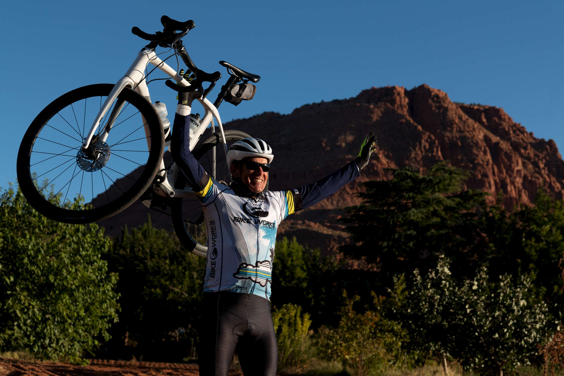 Senior cyclist Jeff Bryson aged sixty four, poses for a portrait during the Huntsman World Senior Games on October 11, 2019 in St. George, Utah.