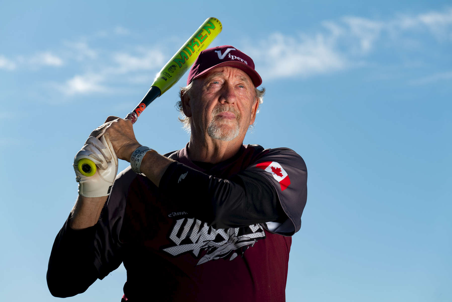 Senior Softball player Mike Loyer aged sixty nine, poses for a portrait during the Huntsman World Senior Games on October 11, 2019 in St. George, Utah.