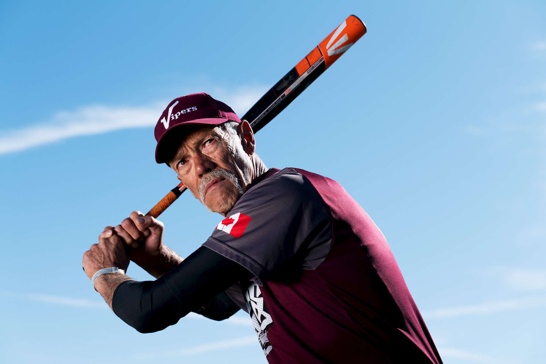 Senior Softball player Bill Weathers aged sixty nine, poses for a portrait during the Huntsman World Senior Games on October 11, 2019 in St. George, Utah.