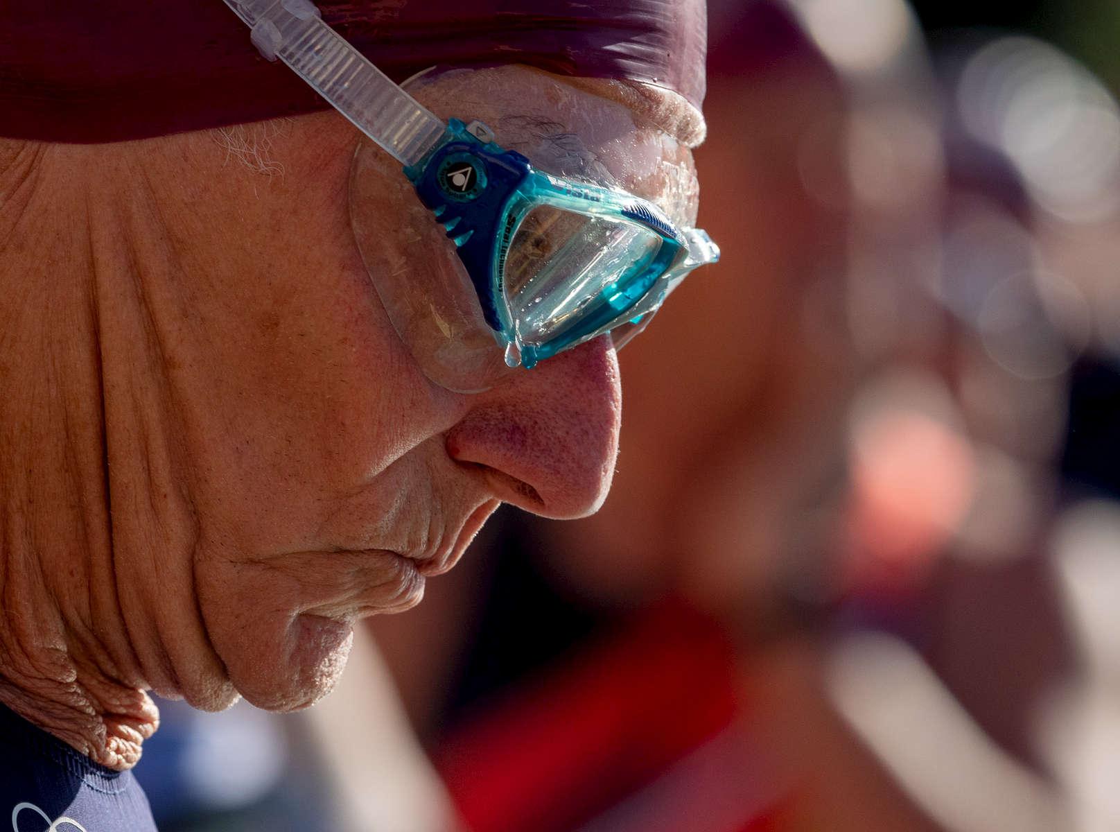Senior athlete Armand Langevin prepares to compete in the Triathlon during the Huntsman World Senior Games on October 12, 2019 in St. George, Utah.