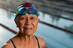 Senior Triathlete Flora Wong aged ninety one poses for a portrait during the Huntsman World Senior Games on October 12, 2019 in St. George, Utah.