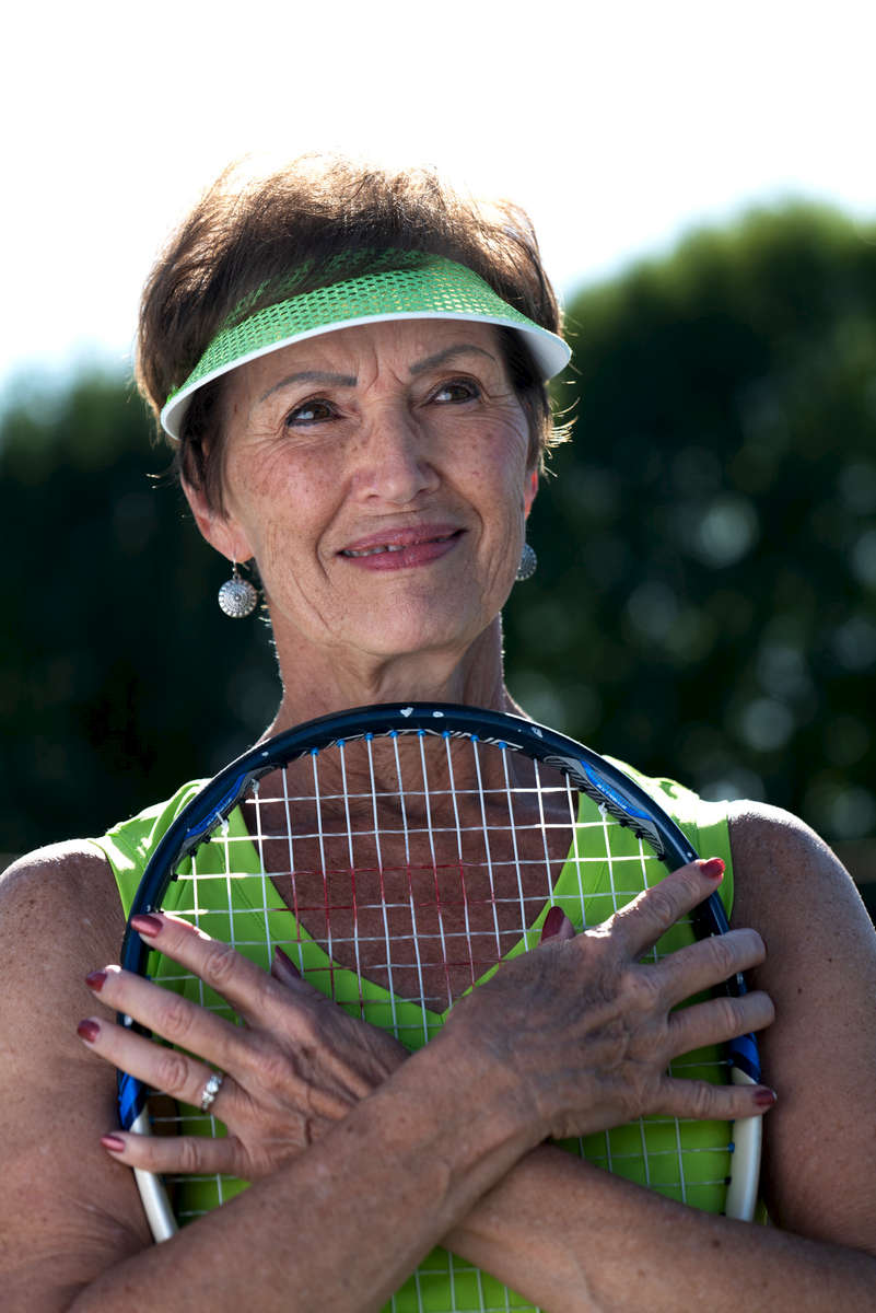 Senior tennis athlete Corey Hart aged Seventy five poses poses for a portrait during the Huntsman World Senior Games on October 10, 2019 in in St.George Utah.