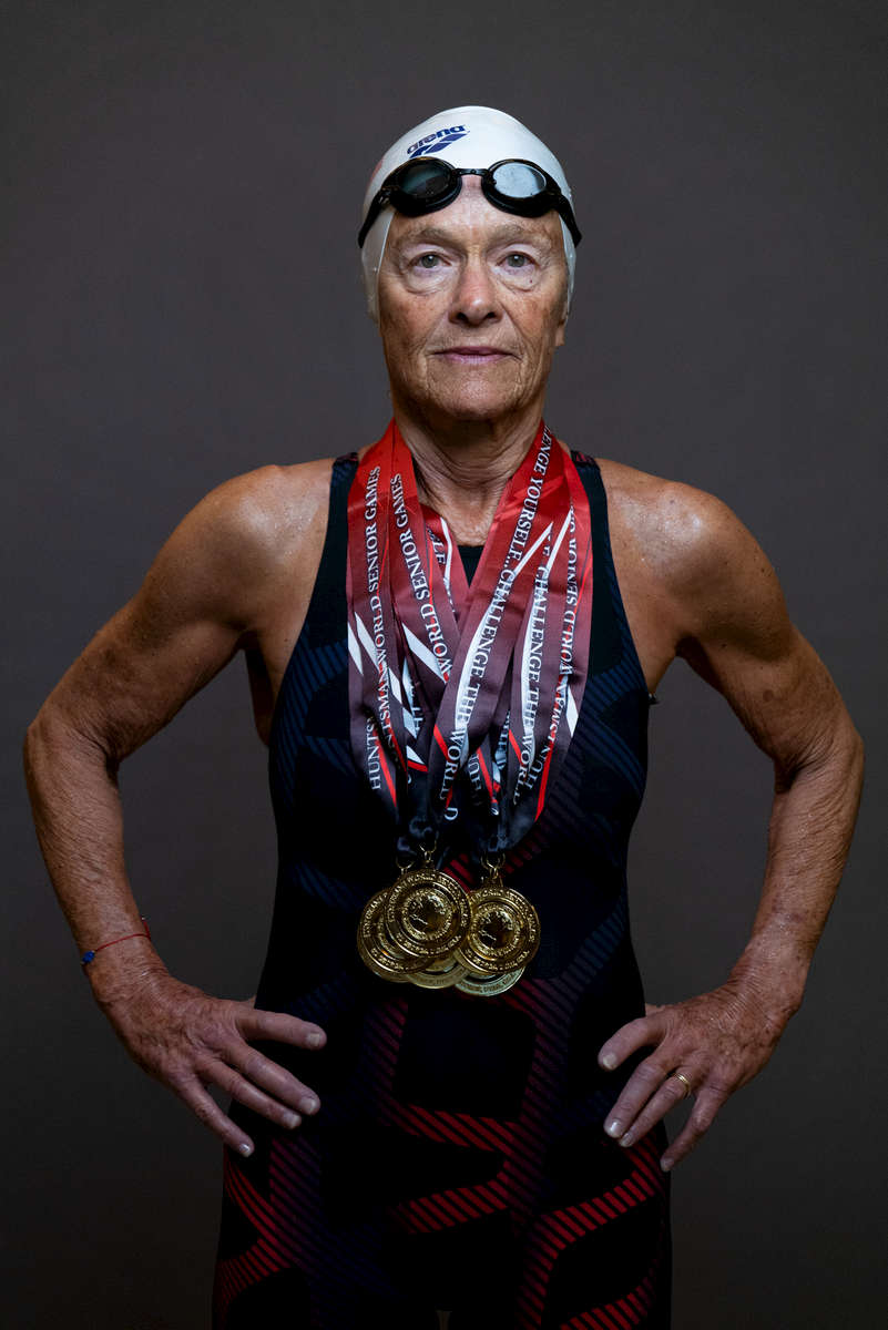 Senior swimmer Daniela Barnea aged Seventy Five poses for a portrait with her gold medals during the Huntsman World Senior Games on October 10, 2019 in in St.George Utah.