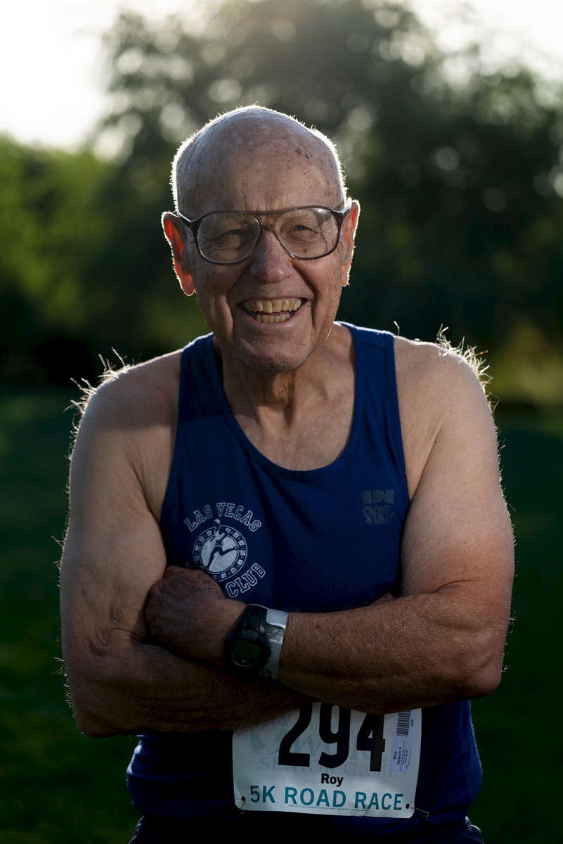 Senior runner Roy Nelson aged eighty six poses for a portrait during the Huntsman World Senior Games on October 10, 2019 in in St.George Utah.