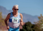 Senior athlete Dick Graves aged ninety competes in the 800m run during the Huntsman World Senior Games on October 15, 2019 in St. George, Utah.