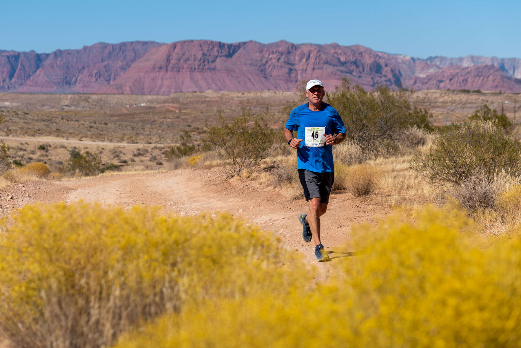 Senior athlete Dale McAllister competes in the Trail Race during the Huntsman World Senior Games on October 12, 2019 in St. George, Utah.