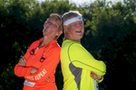 Senior running athletes Wynn and Bette Hubrich , aged seventy five and sixty nine respectively, pose for a portrait during the Huntsman World Senior Games on October 10, 2019 in in St.George Utah.