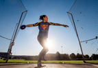 Senior athlete Sabrina Beck aged fifty four trains throwing the Discus before the event during the Huntsman World Senior Games on October 15, 2019 in St. George, Utah.