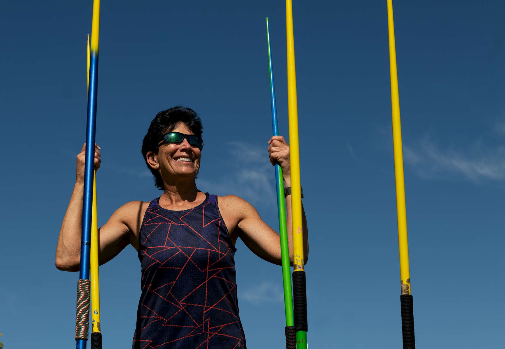Senior Javelin Thrower Linda Cohn aged sixty six poses for a portrait during the Huntsman World Senior Games on October 14, 2019 in St. George, Utah. Cohn is the world record holder in the Javelin in her age group of 65-70 years old.