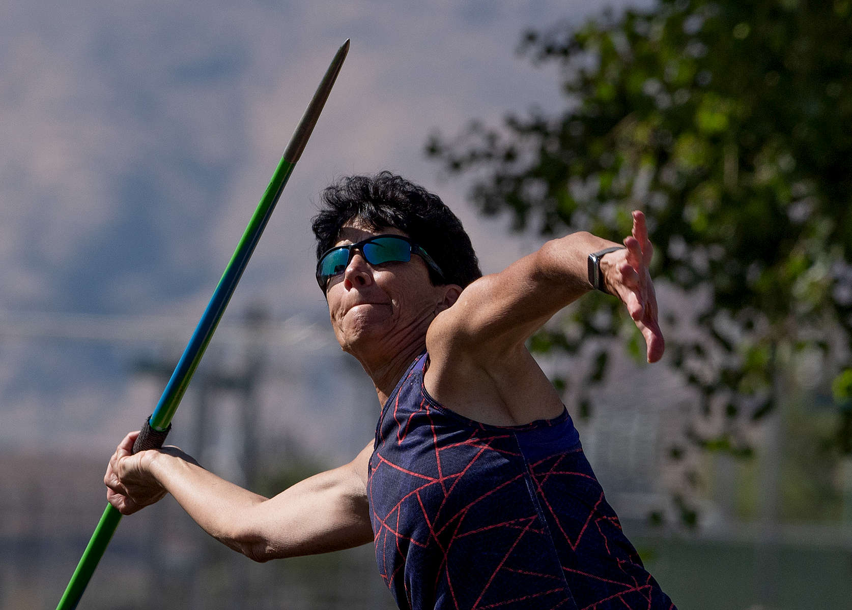 Senior athlete Linda Cohn aged sixty six competes in the Javelin event during the Huntsman World Senior Games on October 14, 2019 in St. George, Utah. Cohn is the world record holder in the Javelin in her age group of 65-70 years old.