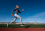 Senior athlete Marina Worsley aged seventy six runs on the track during a photo shoot during the Huntsman World Senior Games on October 14, 2019 in St. George, Utah.