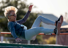 Senior athlete Marina Worsley aged seventy six competes in the high Jump event during the Huntsman World Senior Games on October 14, 2019 in St. George, Utah.