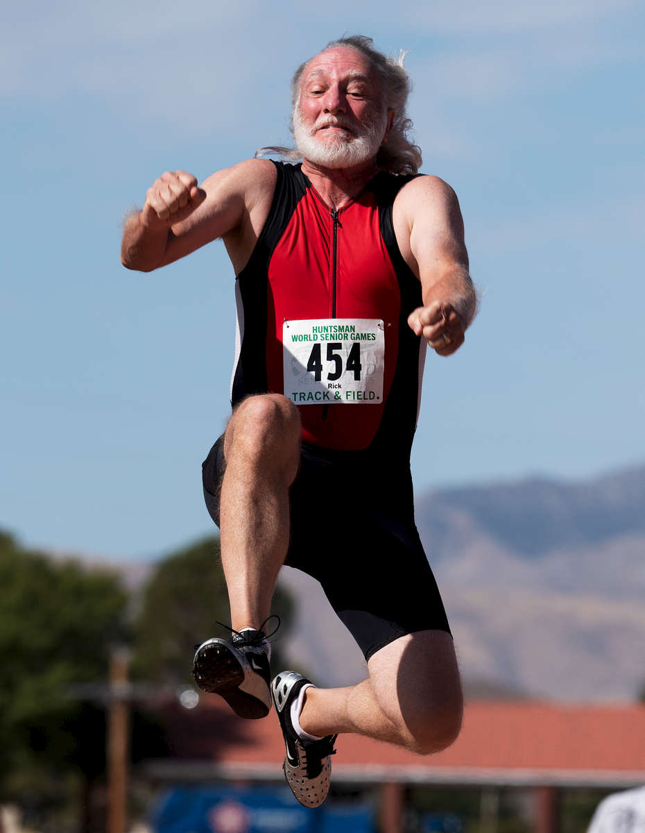 Senior athlete Rick Peterson aged sixty two competes in the Long Jump event during the Huntsman World Senior Games on October 14, 2019 in St. George, Utah.