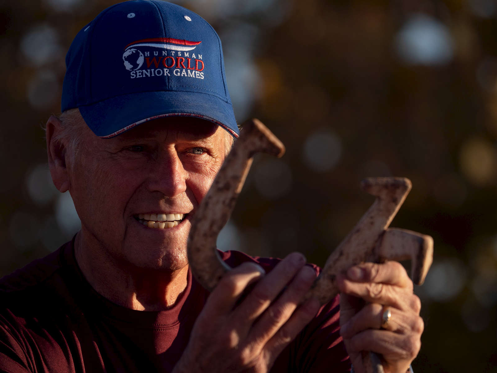 Senior athlete Leroy Wold aged seventy eight poses for a portrait at the Horse shoes competition during the Huntsman World Senior Games on October 16, 2019 in St. George, Utah.