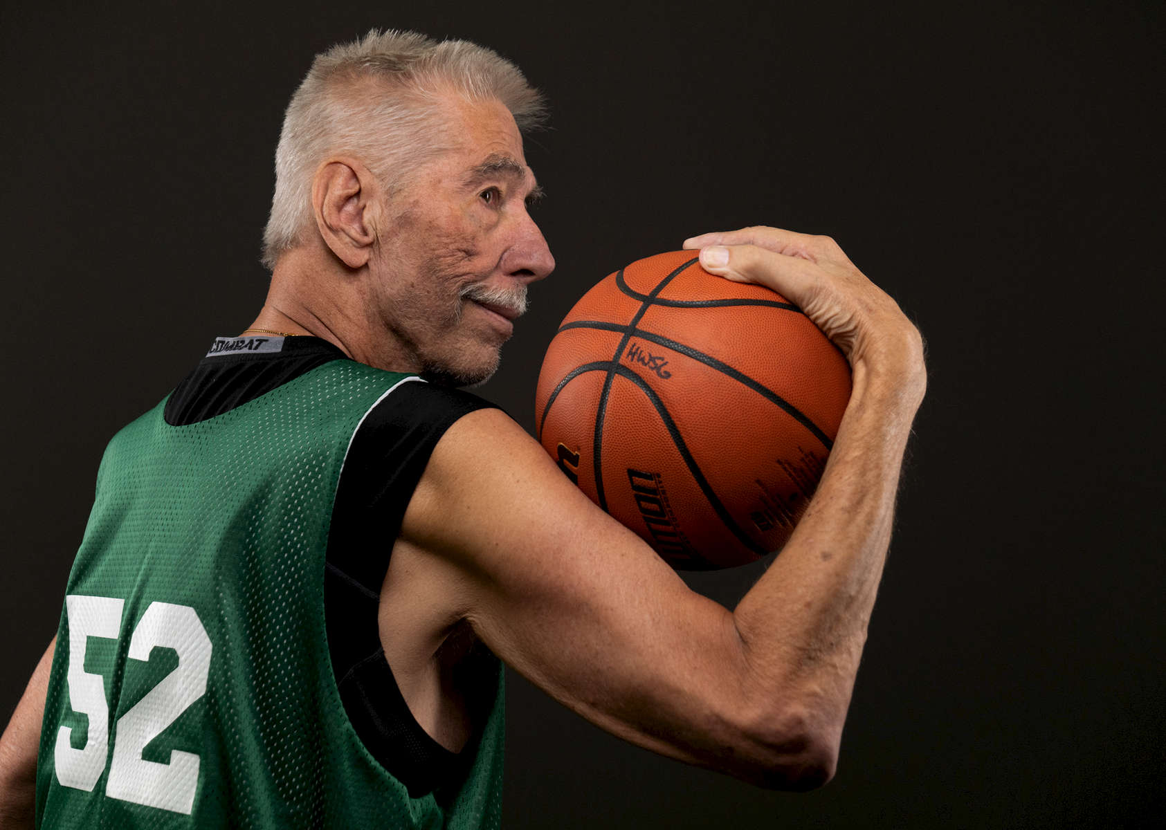 Senior basketball player Ron Flinn aged seventy eight, poses for a portrait during the Huntsman World Senior Games on October 11, 2019 in St. George, Utah.  Ron has been battling throat cancer yet continues to stay active and compete on the basketball court.