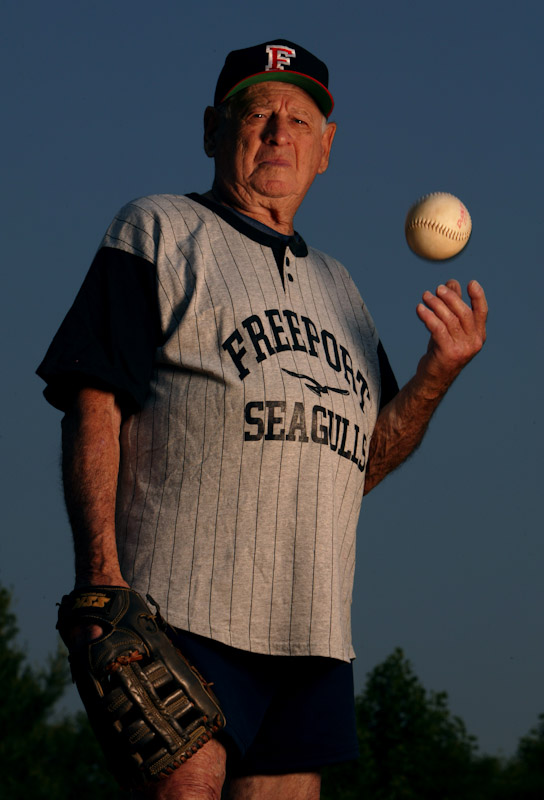Mickey Werner, 90 year old, of Baldwin, poses for a photo at Salisbury Field on May 4, 2004 in East Meadow, New York. Werner pitches for the Freeport Segulls of the Freeport Recreation Center in a Senior Softball league.