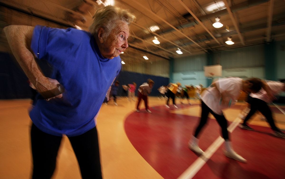 Ninety year old Dorothy Sellers of Freeport takes an aerobics class at the Freeport Recreation Center on April 22, 2004 in Freeport, New York.