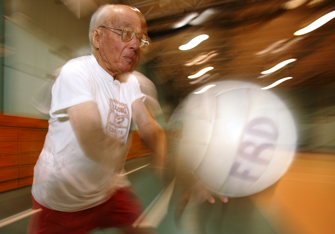 Francis Cotter plays Volleyball at the Freeport Recreation Center on March 16, 2004 in Freeport, New York.