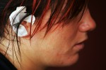 A view of the bandaged ear of training partner Kasi Lyle of the US Olympic Woman's Wrestling team at their training camp at Monsignor Farrell High School on June 24, 2004 in Staten Island, New York.