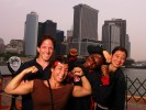 Patricia Miranda, Tela O'Donnell,  and Toccara Montgomery, and Head Coach Terry Steiner of the US Olympic Womans Wrestling team pose on the Staten Island Ferry on June 25, 2004 in Staten Island, New York.