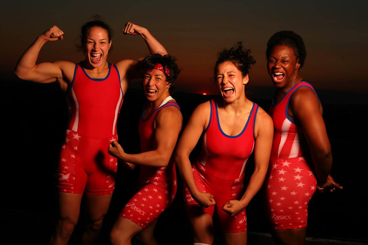 Sara McMann, Patricia Miranda, Tela O'Donnell, and Toccara Montgomery of the US Olympic Womans Wrestling team pose on top of the Staten Island Hotel on June 26, 2004 in Staten Island, New York.