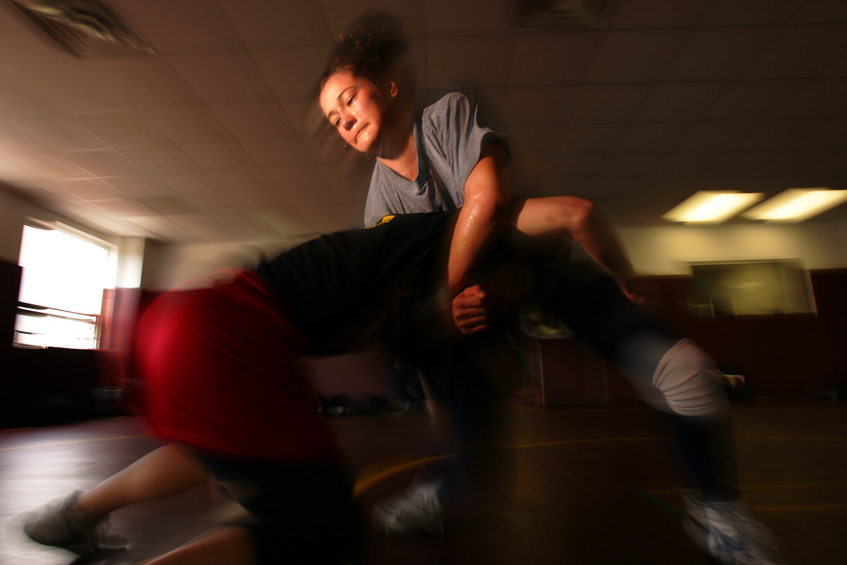 Tela O'Donnell, of the US Olympic Woman's Wrestling team trains at their training camp at Monsignor Farrell High School on June 22, 2004 in Staten Island, New York.