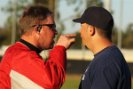 A student umpire argues with an instructor who is playing the role of a team manager in a simulated baseball game during the Jim Evans Academy of Professional Umpiring on January 28, 2011 at the Houston Astros Spring Training Complex  in Kissimmee, Florida.