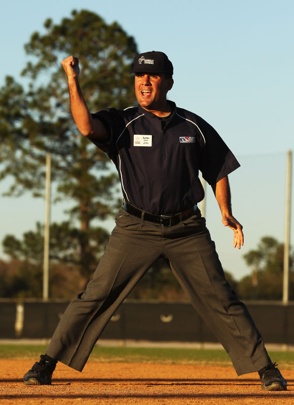 A student makes a call in a simulated baseball game during the Jim Evans Academy of Professional Umpiring on January 28, 2011 at the Houston Astros Spring Training Complex  in Kissimmee, Florida.