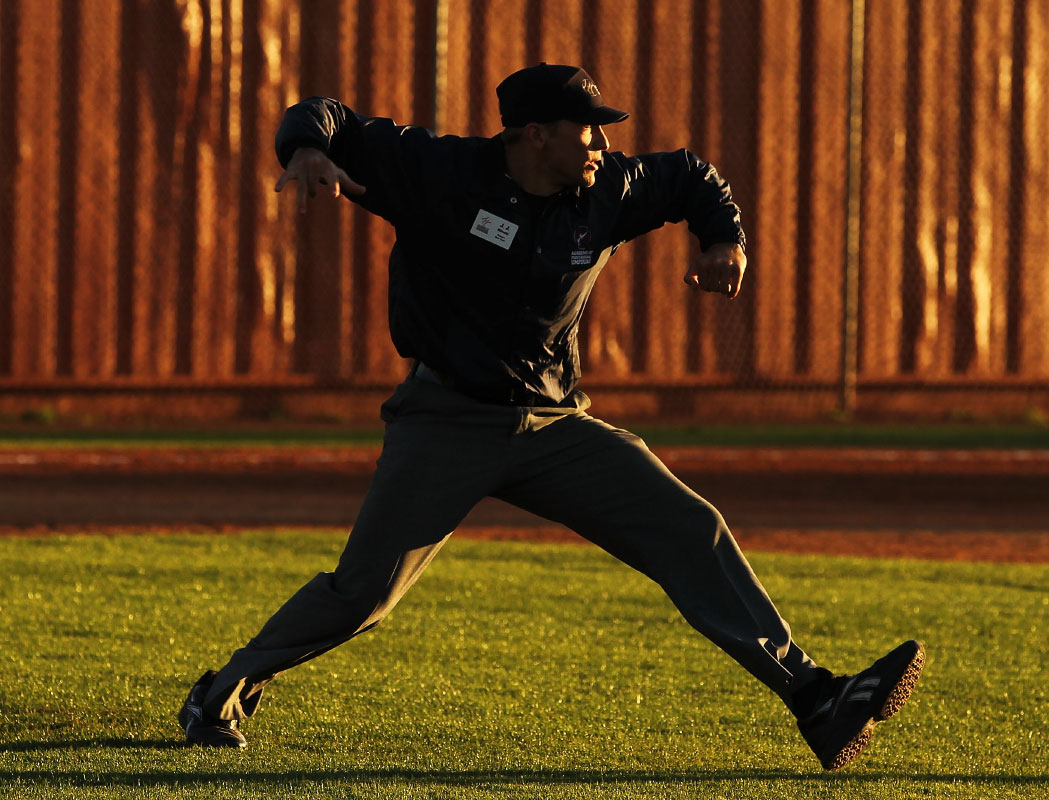 A student makes a call in a simulated baseball game during the Jim Evans Academy of Professional Umpiring on January 27, 2011 at the Houston Astros Spring Training Complex  in Kissimmee, Florida.