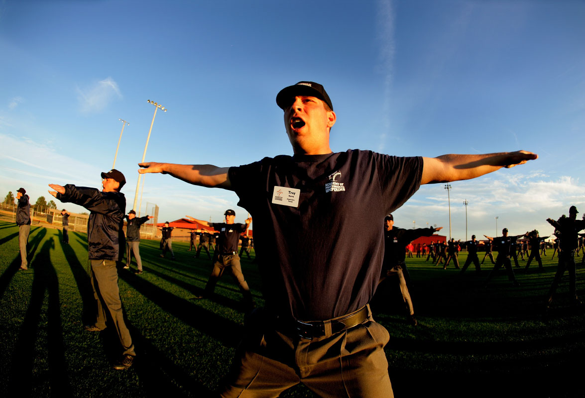 Student Umpires perform a signal drill during the Jim Evans Academy of Professional Umpiring on January 27, 2011 at the Houston Astros Spring Training Complex  in Kissimmee, Florida.