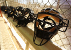 Umpire masks line a bench at the indoor batting cages during the Jim Evans Academy of Professional Umpiring on January 27, 2011 at the Houston Astros Spring Training Complex  in Kissimmee, Florida.