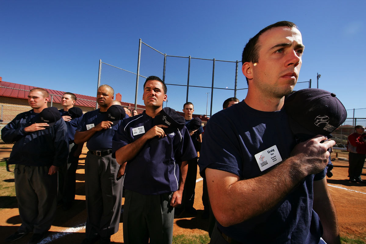 Student Umpires practice standing for The National Anthem during the Jim Evans Academy of Professional Umpiring on January 28, 2011 at the Houston Astros Spring Training Complex  in Kissimmee, Florida.