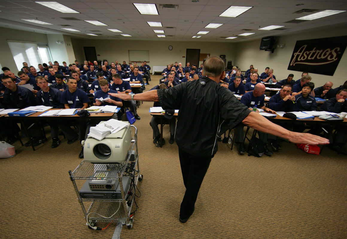 Jim Evans speaks to his students in the classroom during the Jim Evans Academy of Professional Umpiring on January 27, 2011 at the Houston Astros Spring Training Complex  in Kissimmee, Florida.