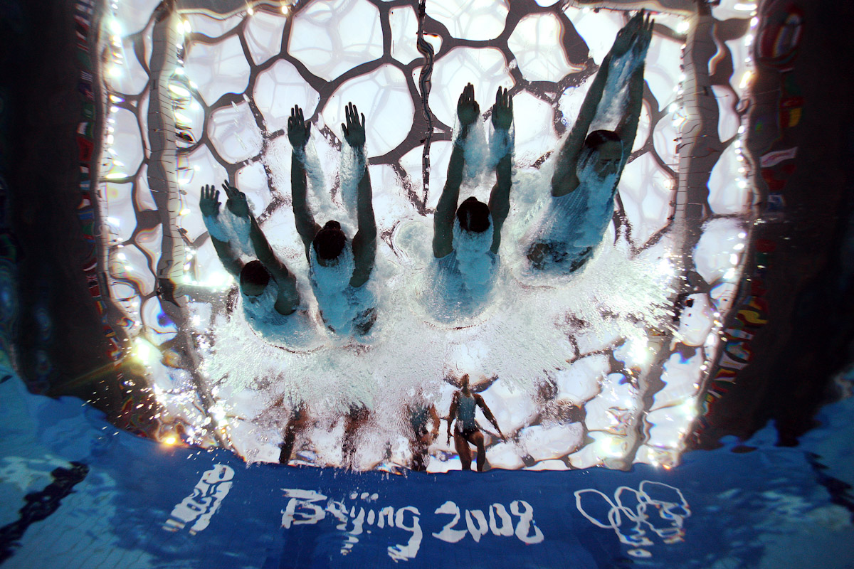 Team Canada competes in the synchronised swimming event at the National Aquatics Center on Day 14 of the Beijing 2008 Olympic Games on August 22, 2008 in Beijing, China.