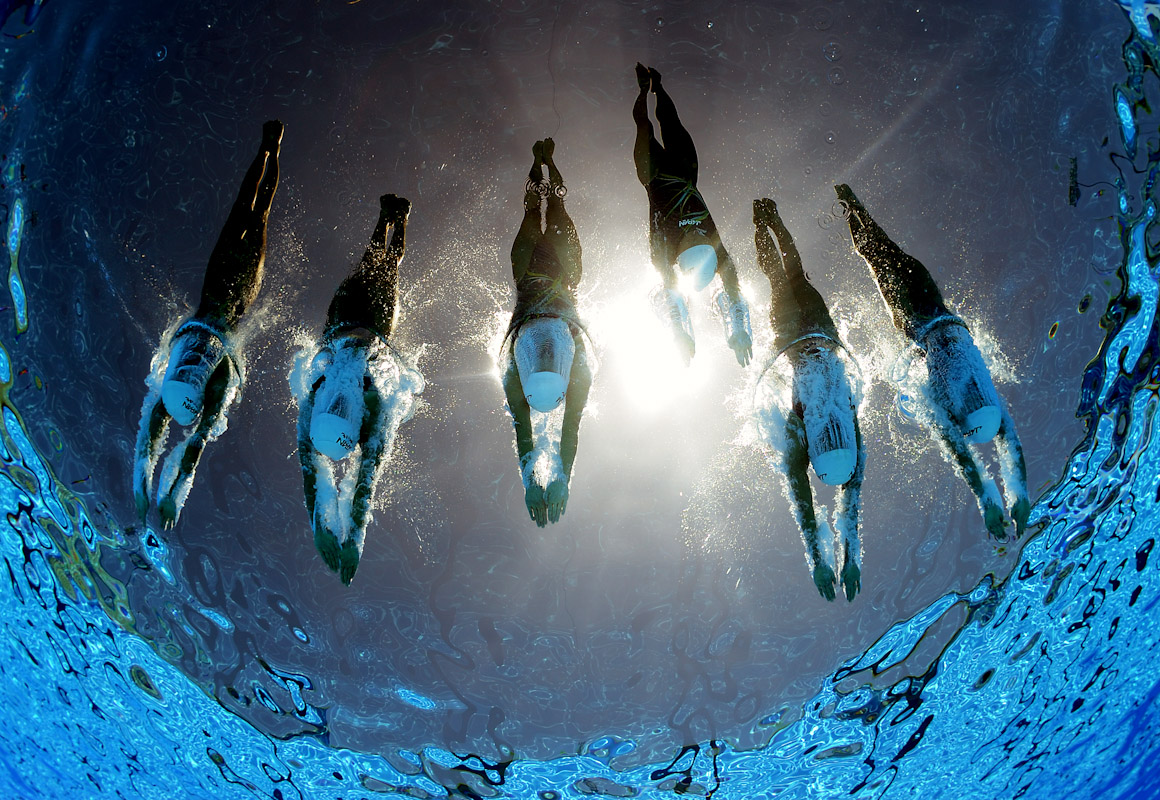 Team Japan compete in the Free Combination Synchronised Swimming Final during the 13th FINA World Championships at Stadio Pietrangeli on July 22, 2009 in Rome, Italy.