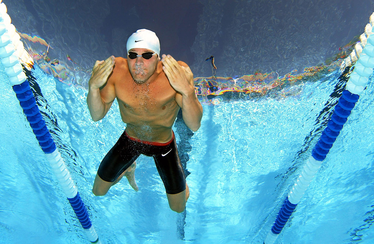 Brendan Hansen swims the 200 meter Breast stroke heats during The US Olympic Swimming Team Trials on July 10, 2004 Charter All Digital Aquatics Centre  in Long Beach, California